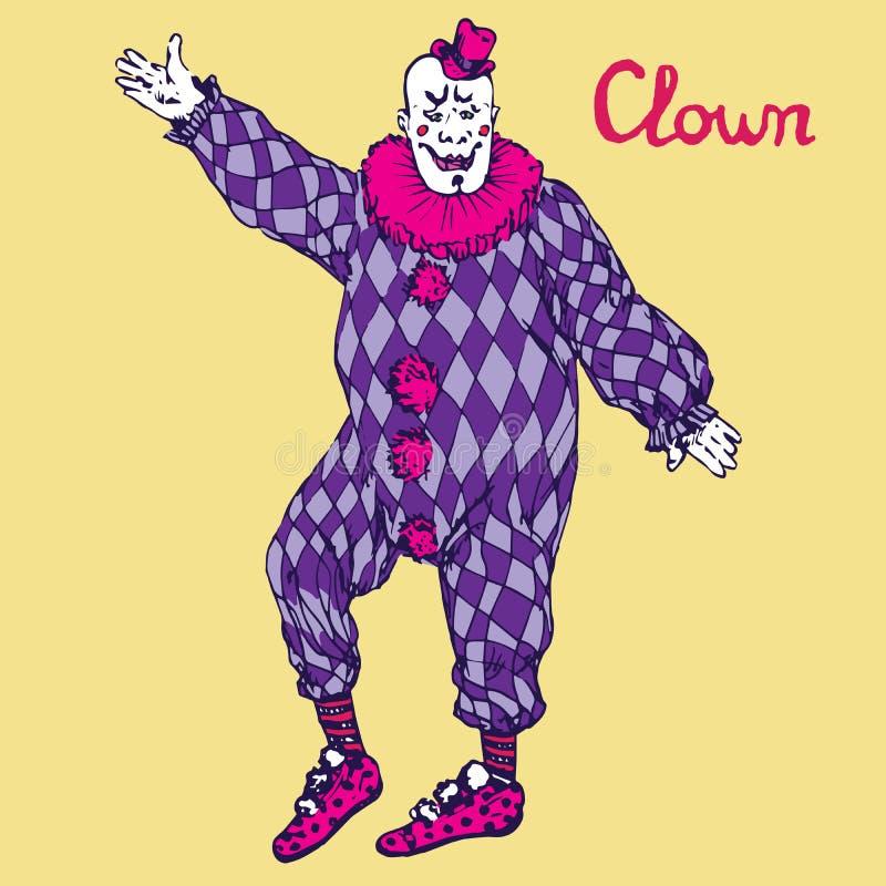 Der Clown steht im purpurroten karierten Kostüm lizenzfreie abbildung