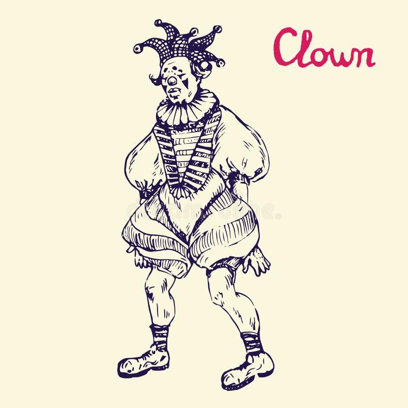 Der Clown steht im Spaßvogelhut, Handgezogenes Gekritzel, Skizze vektor abbildung