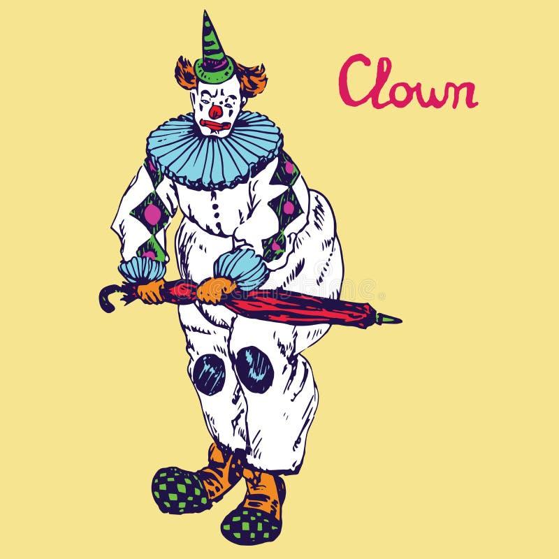Der Clown steht mit einem roten Regenschirm, Handgezogenes Gekritzel, Skizze lizenzfreie abbildung