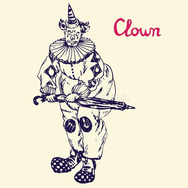 Der Clown steht mit Regenschirm, Handgezogenes Gekritzel, Skizze lizenzfreie abbildung