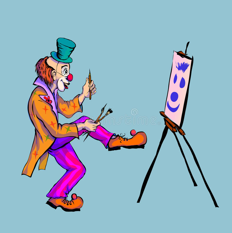 Der Clown zeichnet auf Segeltuch lizenzfreie abbildung