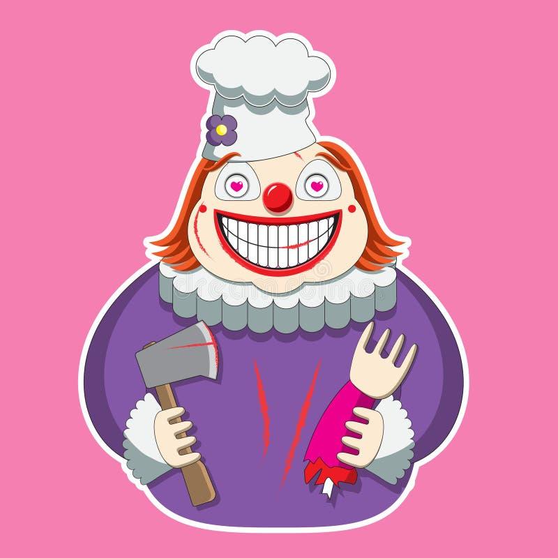 Der Clowncharakter im Hut des Chefs s hält eine Axt und ein Glied bild vektor abbildung