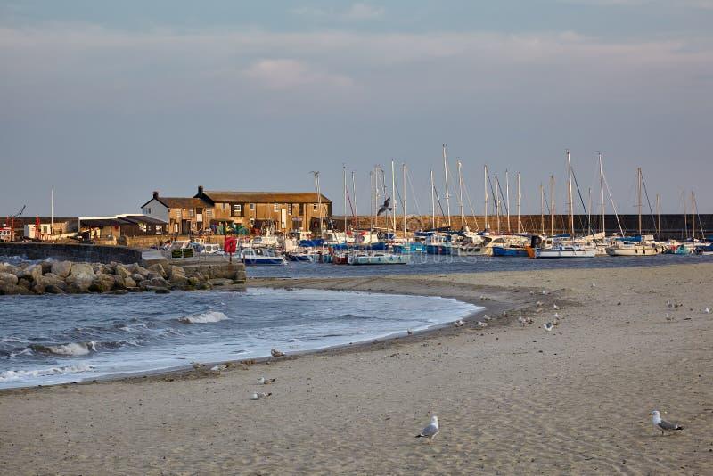 Der Cobb-Hafen von Lyme Regis West-Dorset england lizenzfreie stockbilder