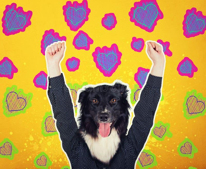Der Collagenganzaufnahme der zeitgenössischen Kunst positiver Hund ging Frauenhippie voran Modernes Artpop-art zine Kulturkonzept stockfoto