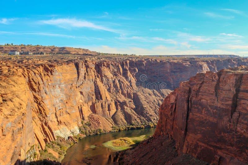 Der Colorado und Glenn Canyon nahe Seite, Arizona, USA von oben lizenzfreie stockfotografie