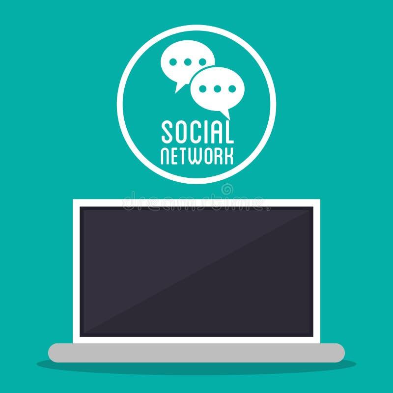 Der Computer-Mitteilung des Sozialen Netzes simsende Blase stock abbildung