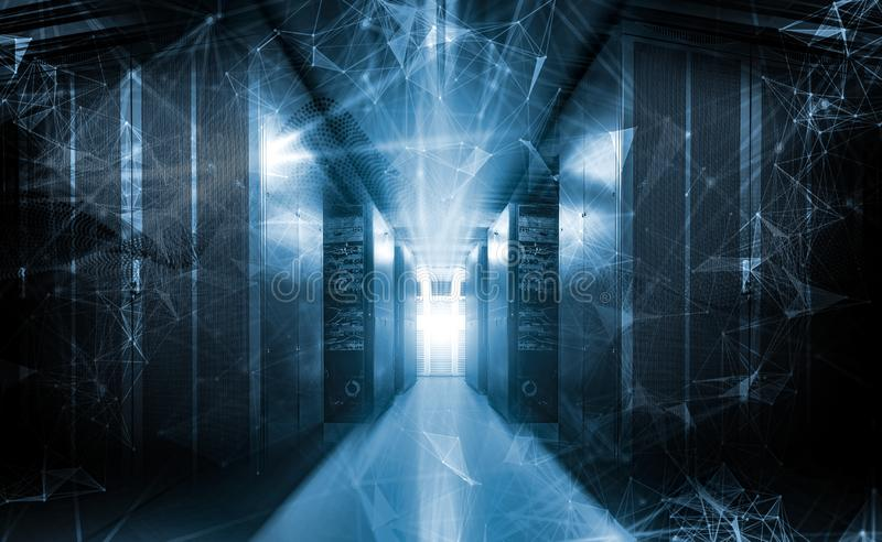 Der Datensichtbarmachung 3d der Zusammenfassungstechnologie kaltes Tonen der großen Wiedergabe vektor abbildung