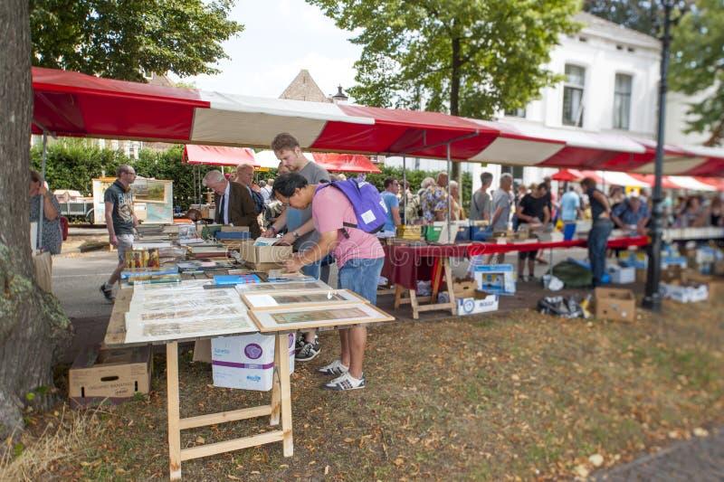 Der Deventer-Buchmarkt in den Niederlanden am 3. August 2014 Der Boulevard drängte sich mit den Leuten, welche die Buchställe rei stockbilder
