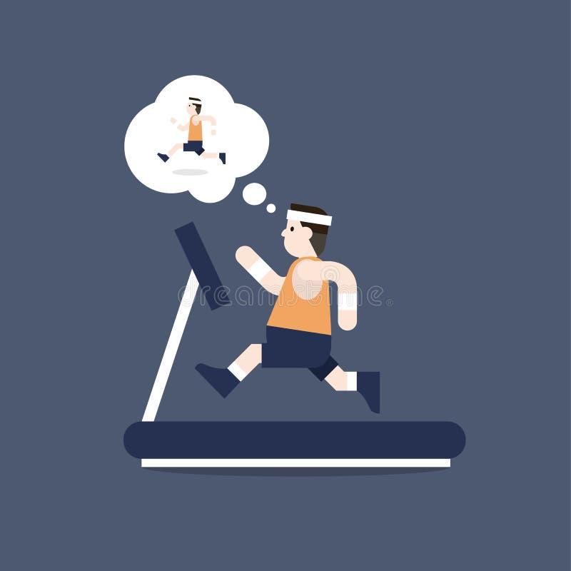 Der dicke Mann läuft auf Tretmühle und er denkt, um Gewicht zu verlieren, indem er läuft stock abbildung