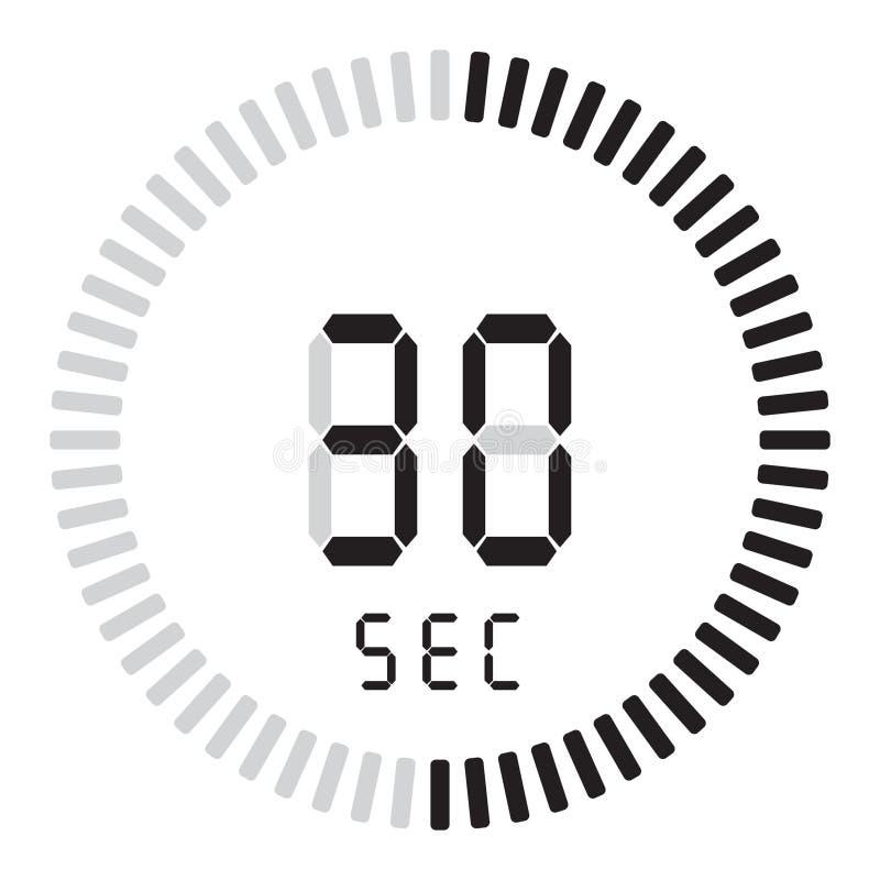 Der digitale Timer 30 Sekunden elektronische Stoppuhr mit einer Steigungsskala, die Vektorikone, Uhr und Armbanduhr, Timer anstel vektor abbildung