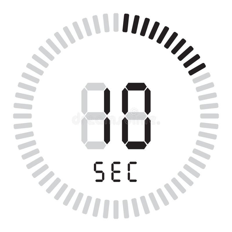 Der digitale Timer 10 Sekunden elektronische Stoppuhr mit einer Steigungsskala, die Vektorikone, Uhr und Armbanduhr, Timer anstel vektor abbildung