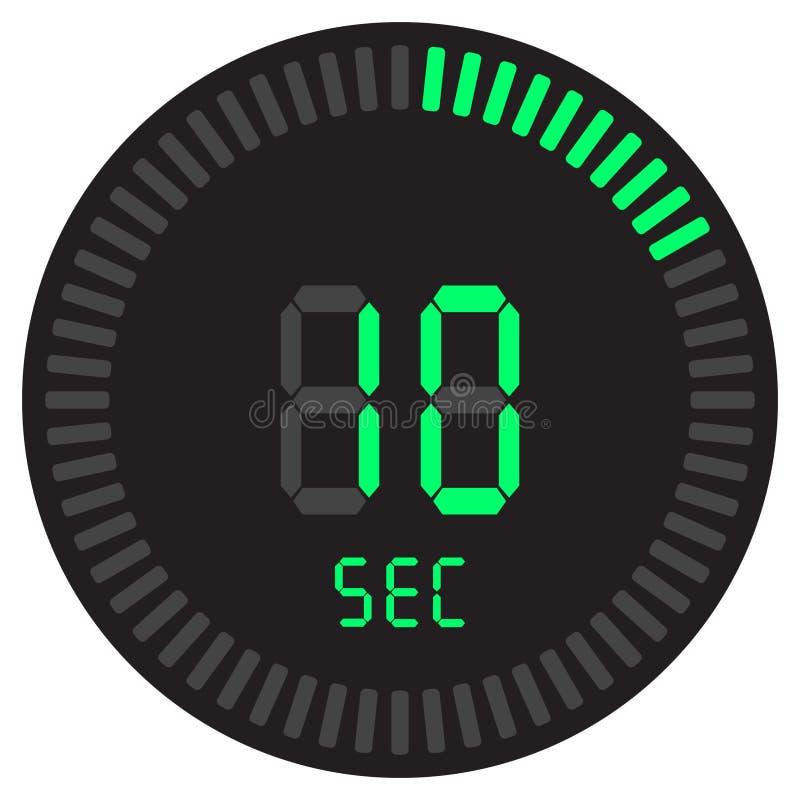 Der digitale Timer 10 Sekunden elektronische Stoppuhr mit einer Steigungsskala, die Vektorikone, Uhr und Armbanduhr, Timer, Count stock abbildung