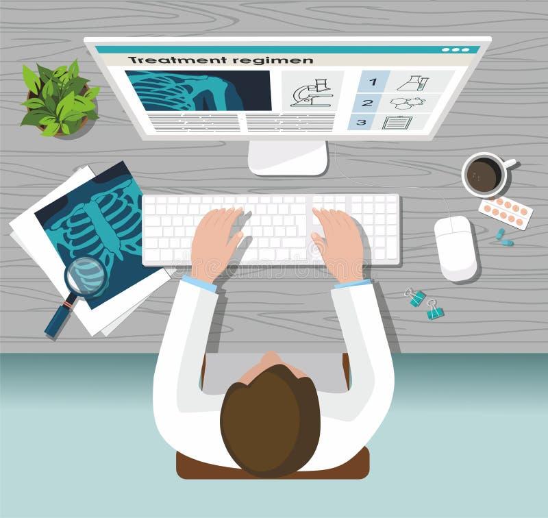 Der Doktor arbeitet an dem Computer Stethoskop liegt auf Set Geld Röntgenstrahllungen, -computer und -pillen auf dem Tisch vektor abbildung
