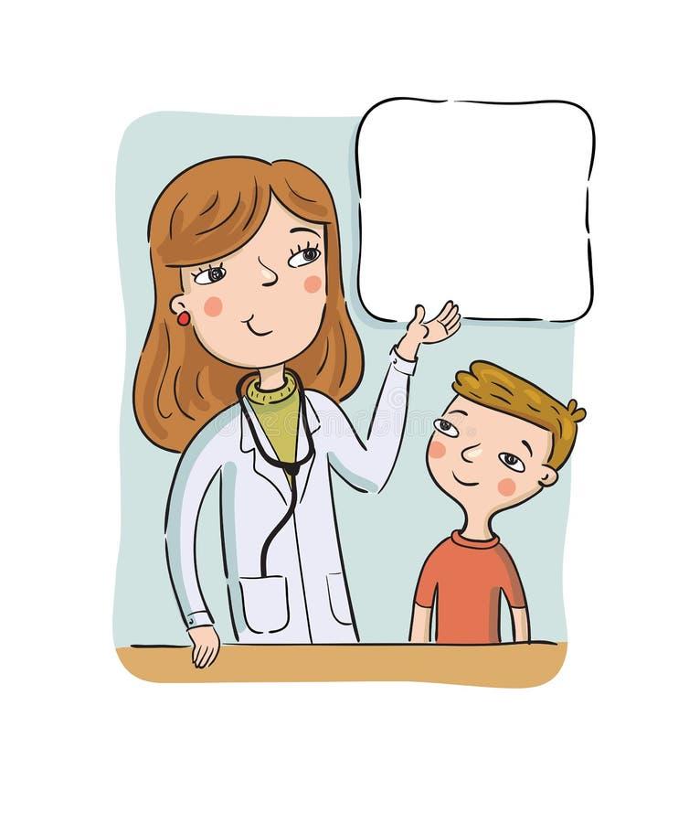 Der Doktor der Kinder stellt dem Jungen auf dem Plakat mit Informationen dar stock abbildung