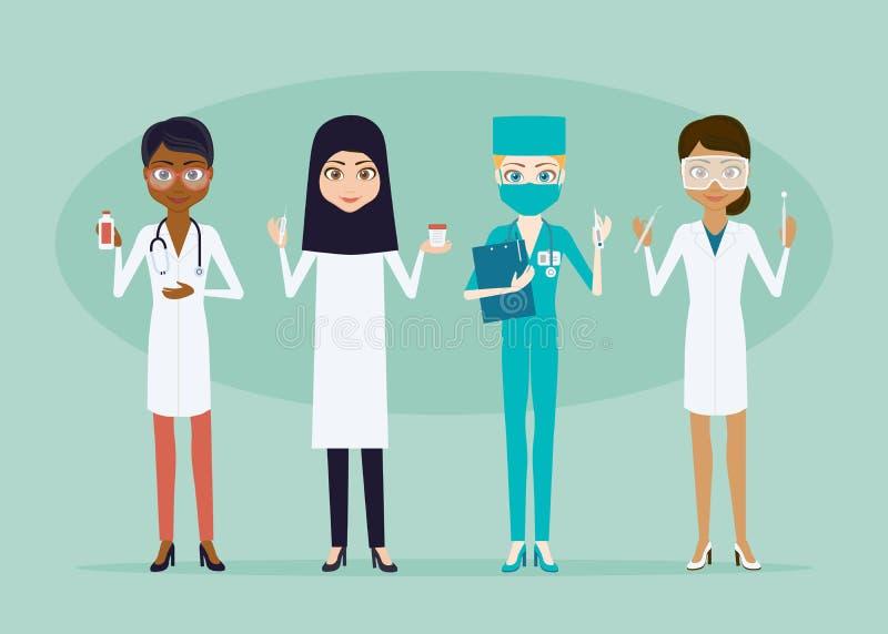 Der Doktor- oder Krankenschwesterfrauenzeichensatz lizenzfreie abbildung