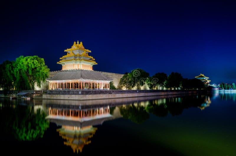 Der Drehkopf der Verbotenen Stadt an der Dämmerung in Peking, China lizenzfreies stockbild