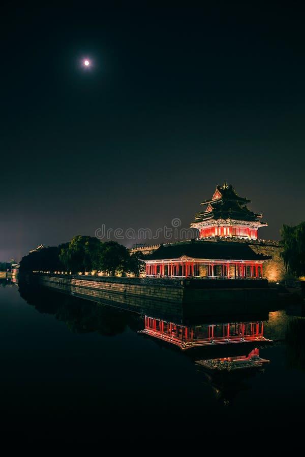 Der Drehkopf von Peking-Verbotener Stadt in der Nacht stockfotografie