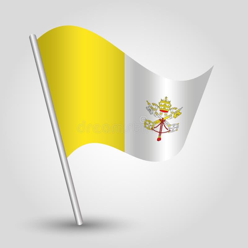 Der Dreieck-Vatikan-Flagge des Vektors wellenartig bewegende auf schräg gelegenem silbernem Pfosten - Symbol von Stadtstaat mit M vektor abbildung