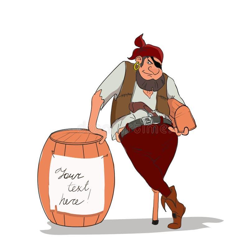 Der einäugige und einbeinige Pirat, der Schatztruhe hält vektor abbildung