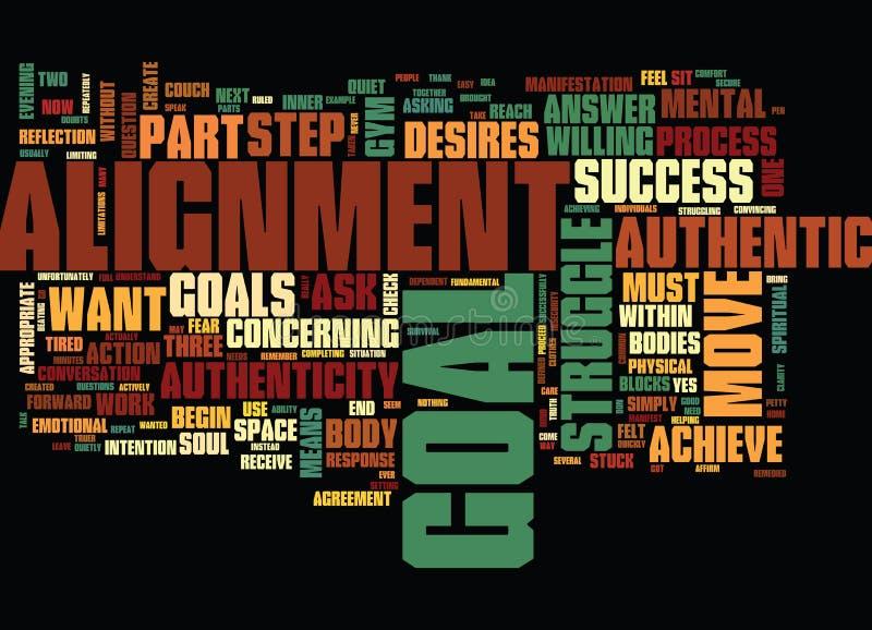 Der ein Durchschlag zwei für Erfolgs-Echtheits-und Ausrichtungs-Text-Hintergrund-Wort-Wolken-Konzept lizenzfreie abbildung