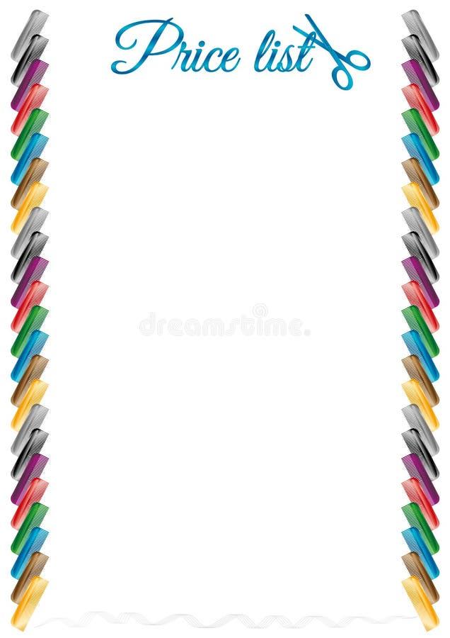 Der einfache Rahmen u. das x28; Preis list& x29; mit Friseurkamm lizenzfreie abbildung