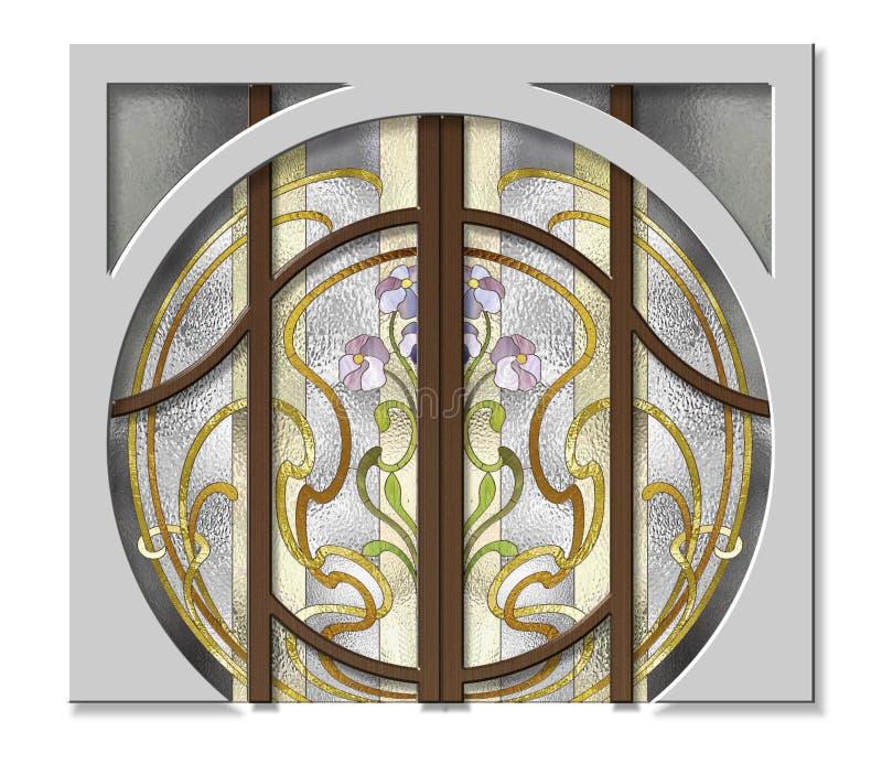 Der Eingang zum Buntglasfenster lizenzfreie abbildung