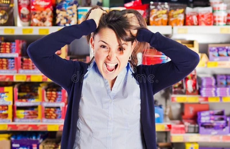 Der Einkauf treibt mich verrückt an lizenzfreies stockbild
