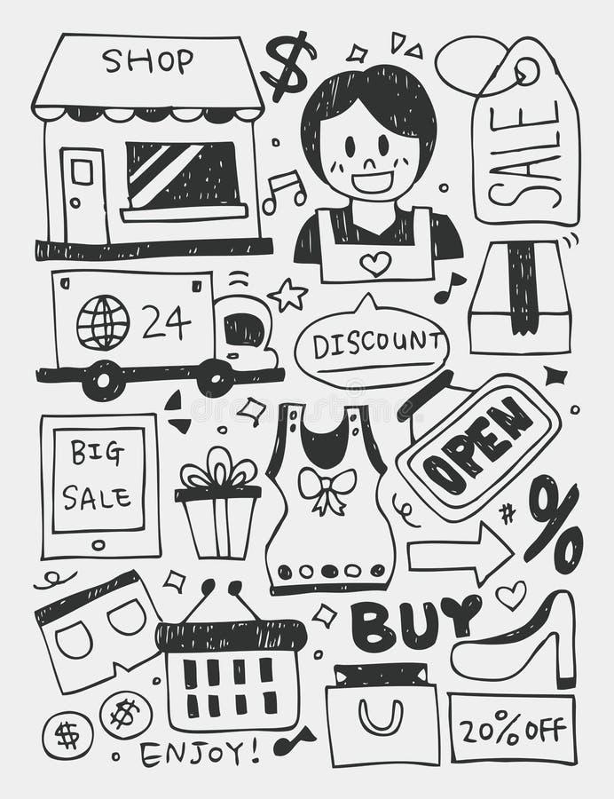 Der Einkauf von Elementen kritzelt Hand gezeichnete Linie Ikone, eps10 stock abbildung