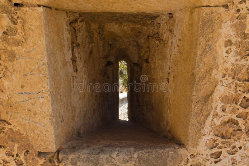 Der Embrasure in Fortezza, Rethymno, Griechenland stockbild