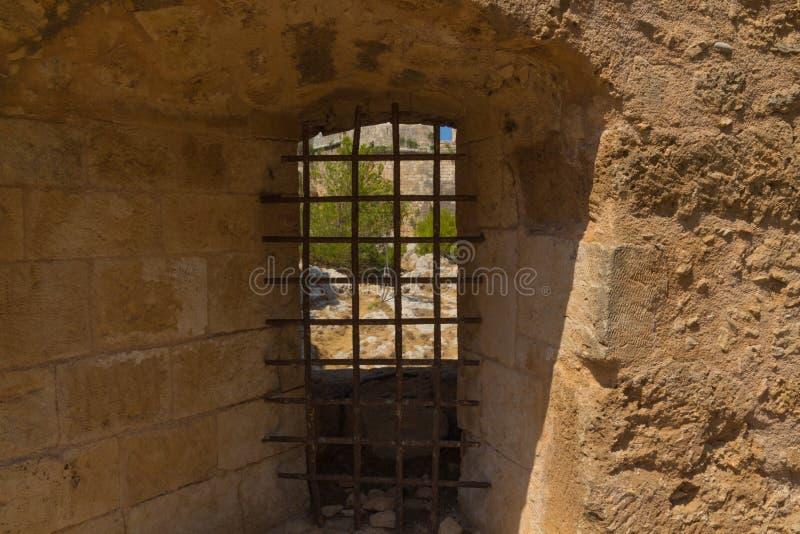 Der Embrasure in Fortezza, Rethymno, Griechenland lizenzfreie stockbilder