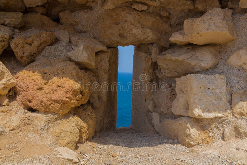 Der Embrasure in Fortezza, Rethymno, Griechenland lizenzfreies stockbild