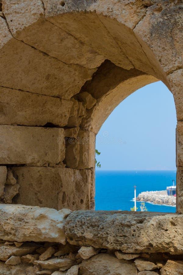 Der Embrasure in Fortezza, Rethymno, Griechenland stockbilder