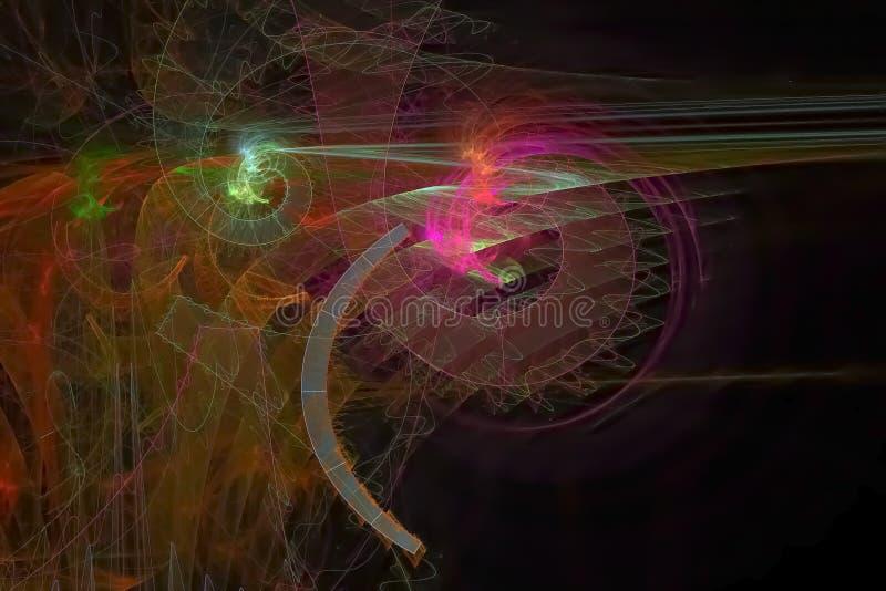Der Energiephantasie der Zusammenfassungsenergie surrealer vibrierender Flammenschein digitales Fractalphantasieentwurfs-Hintergr vektor abbildung