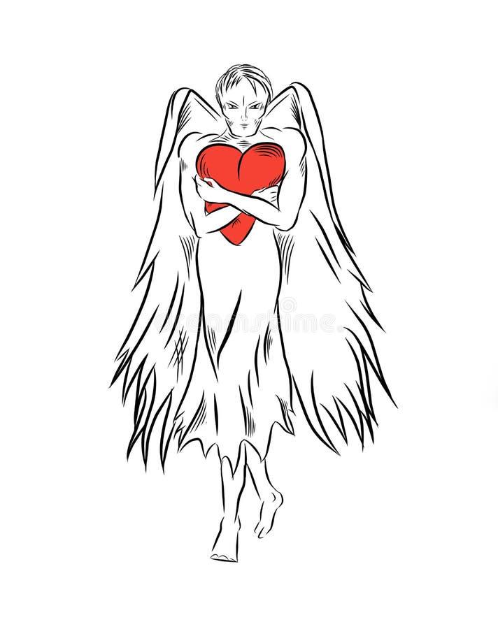 Der Engel hält eine rote Herzillustration für den Feiertag stock abbildung