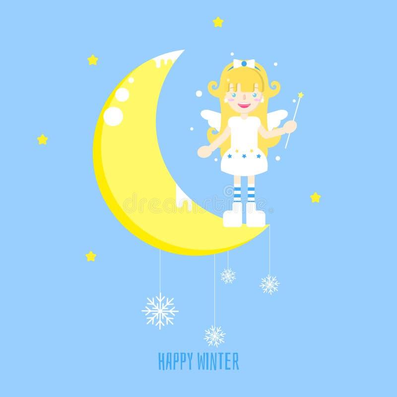 Der Engel und der Mond mit Stern und Schneeflocke lizenzfreie abbildung