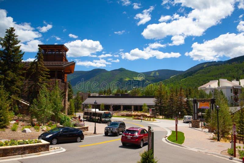 Der enorme Vail Ski Resort, Colorado, USA stockfotografie