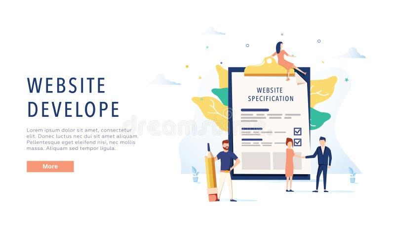 Der Entwurf der Website Websitespezifikationsnetz-Fahnenschablone Flache Vektorillustration stock abbildung