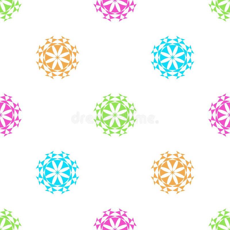 Der Entwurfszusammenfassungsweinlese des nahtlosen geometrischen Blumenmustervektorhintergrundes farbiges bunte Retro- Kunst blau lizenzfreie abbildung