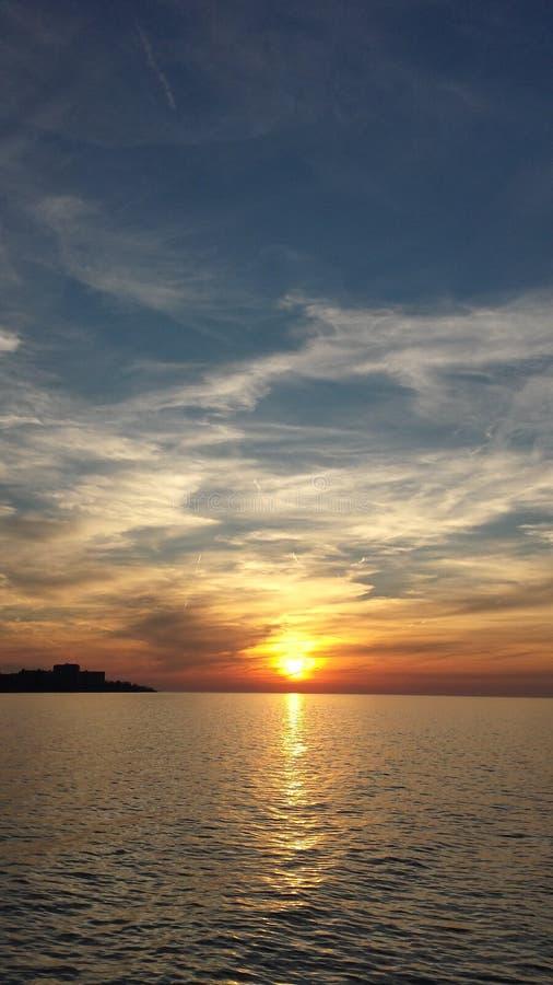 Der Eriesee-Sonnenuntergang stockfotografie