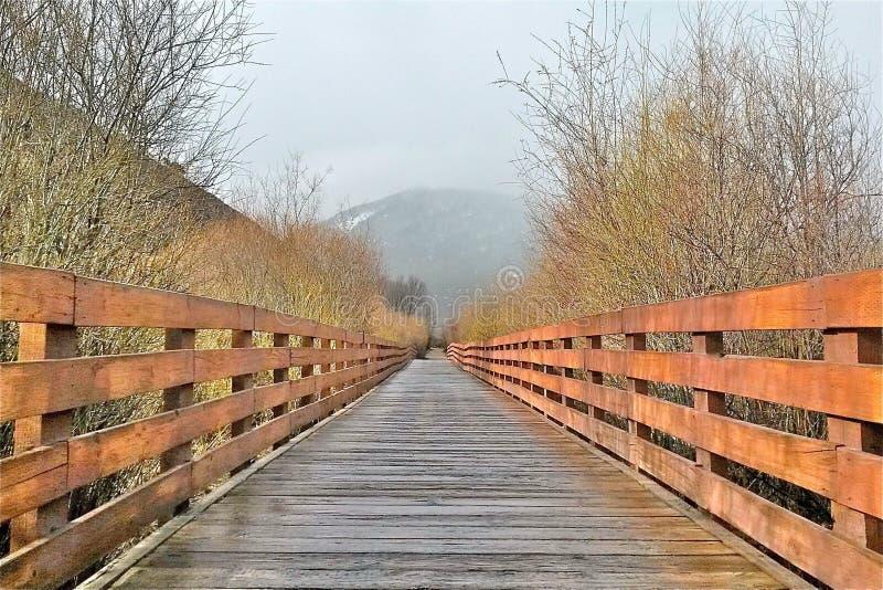 Der erste Schritt auf einer langen Holzbrücke stockfoto