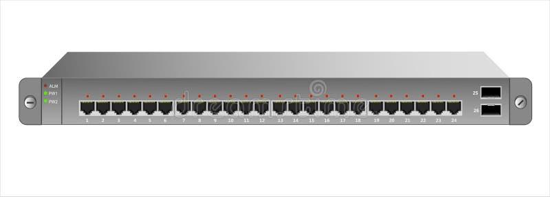 Der Ethernet-Schalter für die Befestigung mit einem 19-Zoll-Gestell mit 26 Häfen, einschließlich zwei Rückgrat lizenzfreie abbildung