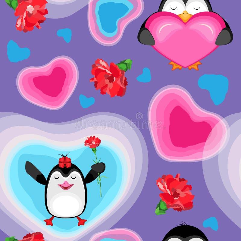 Der Feiertag ist Valentinsgruß ` s Tag Herzen und Pinguine mit Gartennelken Auf einem lila Hintergrund lizenzfreie stockbilder