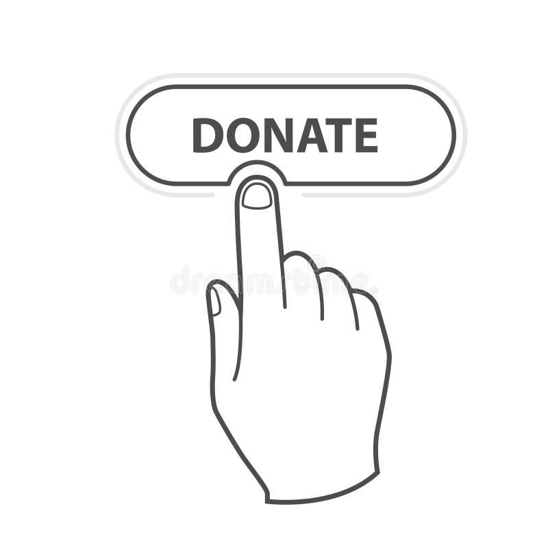 Der Finger, der Knopf drückt, spenden - Nächstenliebe und beschaffen Mittel und crowdfunding lizenzfreie abbildung