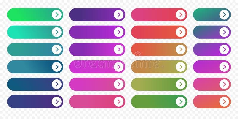 Der flachen Pfeilikonenfarbsteigungsvektor Designschablone des Netzknopfes folgender lizenzfreie abbildung