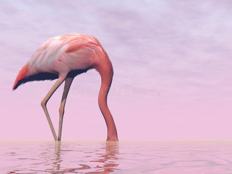 Der Flamingo, der seinen Kopf in wasser- 3D versteckt, übertragen lizenzfreie abbildung