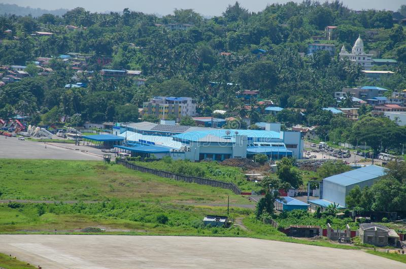 Der Flughafen eine Landschaft, zum von Blair India zu tragen lizenzfreie stockfotos
