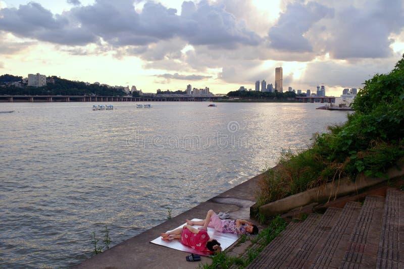 Der Fluss Han Seoul, hangang stockbilder