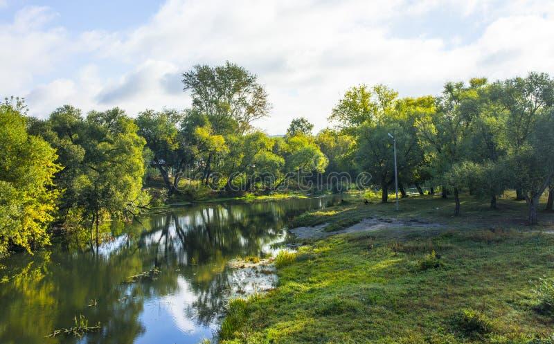 Der Fluss Medveditsa mit seinen malerischen Banken verbessert Stimmung während eines Wegs stockfoto