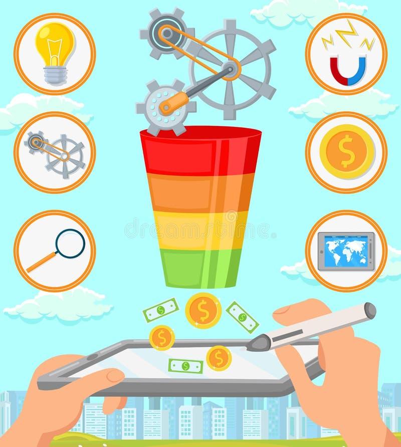 Der Fokus ist nur auf der WortGeschäftsstrategie, im Rot Flache Illustration des Vektors lizenzfreie abbildung