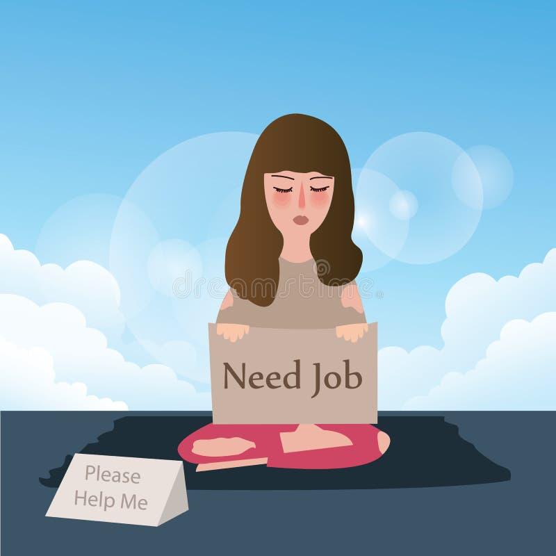 Der Frauenbedarfsjob, der um Hilfe bittet, schreiben in Pappe stock abbildung